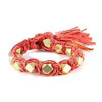 Multi Coral Vintage Ribbon Large Faceted Beads Knotted Bracelet #ettika #rocker #rockandroll #jewelry #accessories #orange