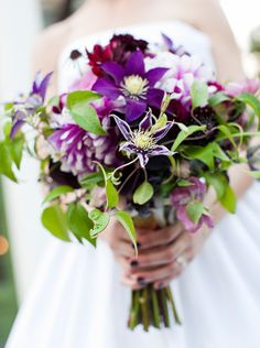 """Bridemaids bouquets with deep tone on tone shades - natural style - clematis vine...less """"messy"""" deeper reds"""