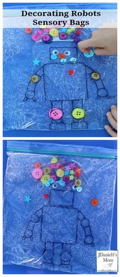 Decorating Robots in Sensory Bags. Cute idea for some other ways to use a sensory bag too Sensory Motor, Sensory Bags, Sensory Bottles, Sensory Activities, Sensory Play, Toddler Activities, Preschool Activities, Sensory Rooms, Toddler Fun