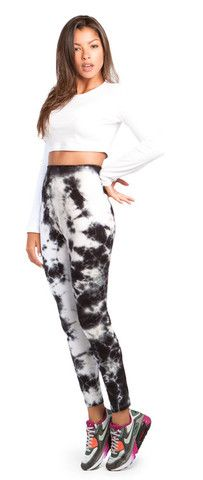 LONG SLEEVE CROP TOP & TIE-DYE LEGGINGS Tie Dye Leggings, Long Sleeve Crop Top, Harem Pants, Crop Tops, Sleeves, Shopping, Collection, Fashion, Moda