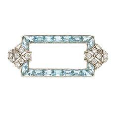 Platinum, Aquamarine and Diamond Brooch, Tiffany & Co.  18 old European & single-cut diamonds ap. .60 ct., signed Tiffany & Co., c. 1920, ap. 5.5 dwts.