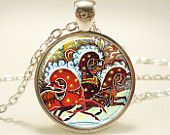 Christmas Necklace, Horse Jewelry, Russian Art Pendant (1231S1IN). $14.45, via Etsy.
