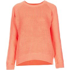 TOPSHOP Knitted Mix Stitch Jumper (81 CAD) ❤ liked on Polyvore featuring tops, sweaters, jumpers, topshop, peach, red jumper, topshop jumper, jumper top, red top and jumpers sweaters