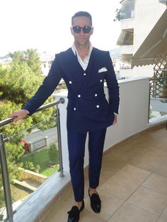Konstantinos suits collection S/S 15.Blue DB wool and Linen blazer with waistcoat!