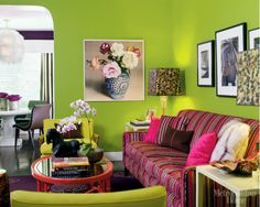 living room paint colors green 7 Purple Pink Interior Color Schemes for Spring Decorating Retro Living Rooms, Colourful Living Room, Eclectic Living Room, Living Room Green, Green Rooms, Living Room Decor, Interior Color Schemes, Interior Design, Modern Interior