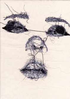 "Hand Embroidered Face ""the wrong side"" Postcard by Louise Jones"