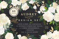 Watercolor Floral Design Set -Audrey by Twigs and Twine on  @creativemarket Watercolor Floral Design Set -Audrey. This beautiful clip art set was inspired by the understated yet glamorous style of the 50's and 60's style icons. It has a neutral colour palette, so it is very versatile for a range of uses. There are also accents such as glittery leaves and gold foiled elements. You can use the separate elements to create your own arrangements, or for an effortless solution to your design…