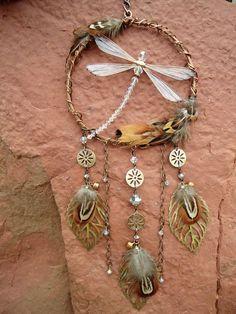 Dragonfly Dream Catcher Gypsy Wind-chime by PoppyBoxStudio on Etsy #birthdaygifts