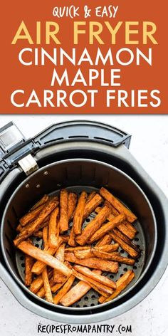 Crispy Air Fryer Carrots Fries with Maple Syrup and Cinnamon are a tasty addicti. - Crispy Air Fryer Carrots Fries with Maple Syrup and Cinnamon are a tasty addictive snack or side. Air Fryer Recipes Appetizers, Air Fryer Recipes Vegetarian, Air Fryer Recipes Vegetables, Air Fryer Recipes Snacks, Air Fryer Recipes Low Carb, Air Fryer Recipes Breakfast, Air Fryer Dinner Recipes, Vegan Recipes Easy, Cooking Recipes