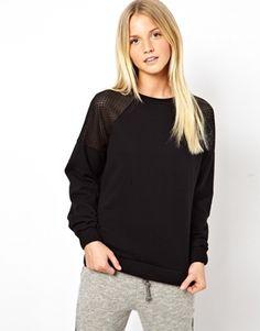 ASOS Sweatshirt with Open Mesh Shoulder Insert