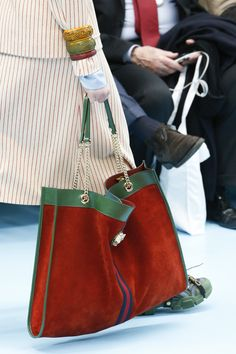 Gucci Fall 2018 Ready-to-Wear Collection - Vogue soft leather handbags Fall Handbags, Gucci Handbags, Tote Handbags, Purses And Handbags, Sac Week End, Soft Leather Handbags, Leather Purses, Suede Handbags, Fall Bags
