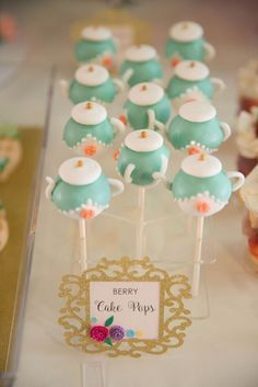 Love the teapot cake pops at this little girls 1st Birthday Garden Tea Party! See more party ideas at CatchMyParty.com