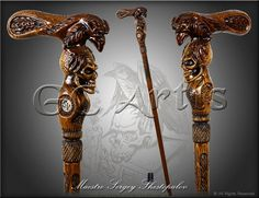 RAVEN & SKULL CANE walking stick wooden handle by GCArtis on Etsy