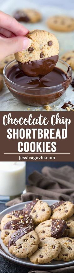 Almond Chocolate Chip Shortbread Cookies - These melt in your mouth gluten-free cookies are dipped in luscious dark chocolate. via @foodiegavin
