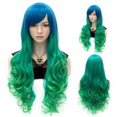 Ombre Side Bang Stylish Lolita Long Wavy Heat Resistant Synthetic Capless Cosplay Wig For Women