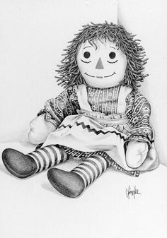 Still Life Drawing - Raggedy Ann by Gaylon Dingler Colouring Pics, Coloring Book Pages, Doll Drawing, Drawing Tips, Still Life Drawing, Ann Doll, Raggedy Ann And Andy, Cartoon Drawings, Cartoon Art