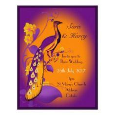 Modern Purple Orange Peacock custom wedding 4.25x5.5 Paper Invitation Card