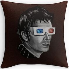 David Tennant Throw Pillow. As the 10th Doctor with his 3D glasses.