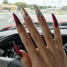 Pretty Nail Art Patterns Decorated and Simple Page 33 of 52 - Nail Designs & Manicure Stiletto Nail Art, Acrylic Nail Art, Acrylic Nail Designs, Nail Art Designs, Acrylic Nails Maroon, Stiletto Nail Designs, Coffin Nails, Fancy Nails, Bling Nails