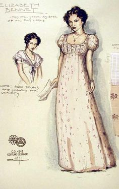 Pride and Prejudice (Elizabeth Bennett). Costume design by Mathew J. Pride and Prejudice (Elizabeth Bennett). Costume design by Mathew J.,Stolz und Vorurteil /Jane Austen Pride and Prejudice (Elizabeth Bennett). Costume design by. Theatre Costumes, Movie Costumes, Historical Costume, Historical Clothing, Pride And Prejudice Elizabeth, Elizabeth Bennett, Costume Design Sketch, Jane Austen Books, Illustration Mode