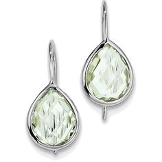 Sterling Silver Rhodium Plated Pear Green Quartz Teardrop Earrings (290 BRL) ❤ liked on Polyvore featuring jewelry, earrings, rhodium plated jewelry, green quartz earrings, pear earrings, polish jewelry and sterling silver jewelry
