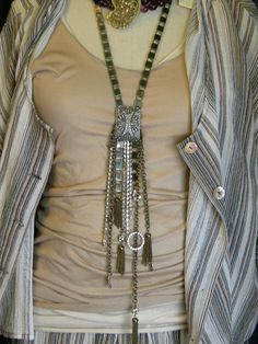 Huge Vintage recycled rhinestone buckle flapper sautoir necklace. $349.00, via Etsy.
