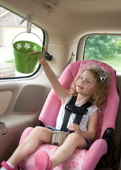 Car Pulley System~This Car Pulley System is the perfect way to pass back snacks and travel activities for kids. It's a great way to make sure your little one isn't bored or fussy on a long ride.