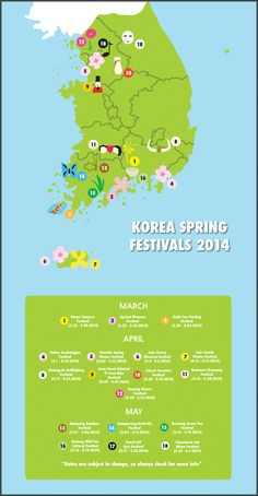 So if you're looking for some new festivals or places to go, I made this to give you at least a general idea of where some lesser known festivals are as well as some well known ones. Spring has A T...