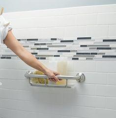 Grab bar shelf a safe idea in the bathroom. #grabrail #seniorsliving
