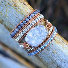 Save the Ocean Bracelet Boho Leather Mixed Natural Stone Quartz Druzy – ™ Beaded Wrap Bracelets, Crystal Bracelets, Jasper Stone, Quartz Stone, Stone Bracelet, Healing Stones, Stone Beads, Gemstones, Crystals