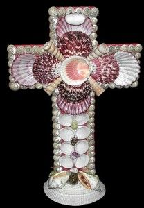 Cross Seashells Standalone Wall Hanging Shells Decor Church Crucifix Umbonium | eBay
