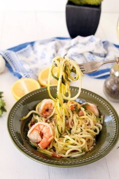"""Easy Bacon Shrimp """"Zucchini Noodle"""" Scampi/going to adapt for an AirFryer!"""