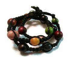 Black Hemp 10mm Wood Bead Wrap Bracelet