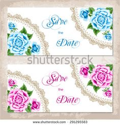 Vintage Invitation Template With Roses Shabby Chic Vector