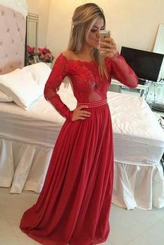 Timeless A-Line Prom Dress,Off the Shoulder Prom Dresses,Long Red Chiffon Evening Dress with Long Sleeves