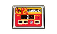 """NCAA Desktop Scoreboard Alarm Clock $29.99 Scoreboard-style LED lights Shows time, date, and indoor temperature Three separate programmable alarms NCAA team colors and logos Great for desks, nightstands, and scorer's tables Powered by standard electric outlet Dimensions: 9.5""""x6.5""""x3""""; 1.6lb."""