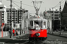 View of the historical tram in Prague.  A tour of in Prague for tourists.  Color adjustment black, white, red.