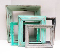 8x10 Random Wooden Rustic Frame  ONE Vintage picture frame by The Picture Hook in squa, mints, blues, greys for rustic wedding, vintage wedding, photo gallery, shabby chic decor!
