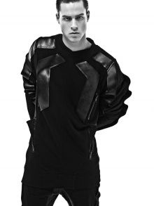 This cotton/leather pullover by Grecian label, Conquistador features zippered pockets and gill-like pleats on the back. It could make any guy look and feel like a real superhero.