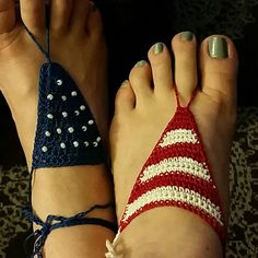 Patriotic Barefoot Sandals Handmade by me (Nicole.) Crocheted with 100% cotton. Pair of barefoot anklets. Tie up leg, around ankle,  or wear on hand. Beach. Festival. Dress up flip flops. One has red and white stripes, the other royal blue with beaded stars. American Flag. coleyroleypoley Accessories