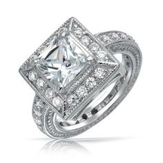 Bling Jewelry Vintage Style Princess Cut CZ Milgrain Engagement Ring 925 Silver