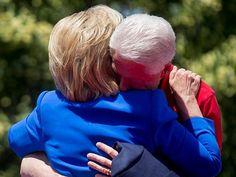 Bill and Hillary Hug after Speech June 13, 2015