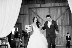 Silver & Lace vintage barn wedding.  photo by The Tarnos.  Bride & Groom Entrance.