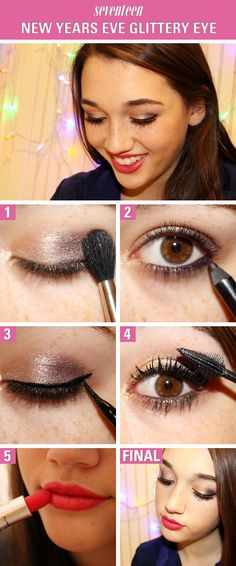New Year's Eve Makeup How-To: Glam Glittery Eyes