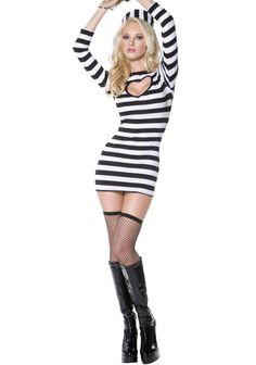 Heartbreaker Convict Costume, Sexy Prisoner Costume, Sexy Convict Dress and Hat Costumes Sexy Halloween, Cool Costumes, Costumes For Women, Adult Costumes, Costume Ideas, Rapunzel, Corsets Online, Fancy Dress Womens, Costumes