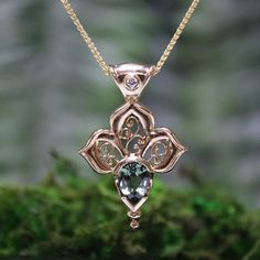 33 best unique gold gemstone pendants by melissa caron images on green sapphire and diamond filigree pendant in 18k gold gossamer wings aloadofball Image collections