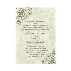 Vintage Ivory Black Sketched Flowers Weddings Custom Invitations by dmboyce