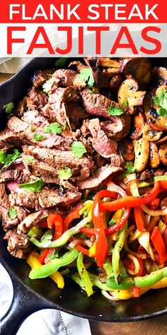 Flank Steak Fajitas Marinated flank steak and loads of flavorful veggies make a delicious fajita filling perfect for busy weeknight dinners. Tastes great and easy to make! This Flank Steak Fajitas recipe is one of our go-to meals! Flank Steak Tacos, Best Steak Fajitas, Beef Fajita Marinade, Beef Fajita Recipe, Homemade Fajita Seasoning, Marinated Flank Steak, Flank Steak Recipes, Beef Fajitas, Beef Recipes