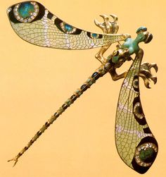 René Lalique - Bodice Ornament. Dragonfly Woman 1897-98. Gold, enamel, chrysoprase, moonstones, diamonds. 9 x 10-7/16 inches