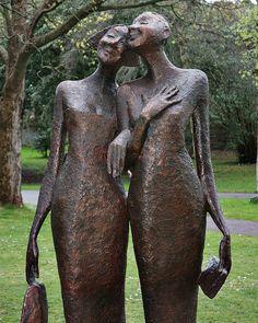 By Bob Quinn - at the National Botanic Gardens, Dublin. Bob Quinn, Best Night Ever, Botanical Gardens, Garden Sculpture, Carving, Bronze, Couple, Statue, Painting